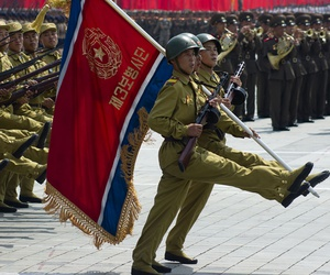 North Korean soldiers at the military parade in Pyongyang of the 60th anniversary of the conclusion of the Korean War in 2013.