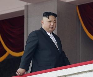 North Korean leader Kim Jong Un walks along his viewing balcony during a military parade on Saturday, April 15, 2017, in Pyongyang, North Korea.