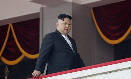 North Korean leader Kim Jong Un walks along his viewing balcony during a military parade on Saturday, April 15, 2017, in Pyongyang, North Korea.