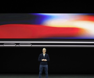 Apple CEO Tim Cook announces the new iPhone X at the Steve Jobs Theater on the new Apple campus, Tuesday, Sept. 12, 2017.
