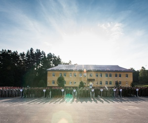 Soldiers from multiple nations stand in formation during Exercise Rapid Trident's opening ceremony in Yavoriv, Ukraine, Sept. 15.