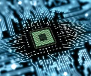 An artist rendering of a microchip.
