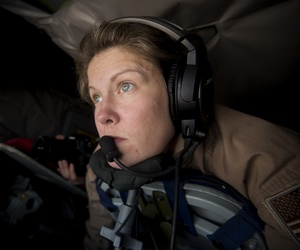A boom operator, assigned to the 340th Expeditionary Air Refueling Squadron, prepares to refuel an aircraft from a KC-135 Stratotanker above Southwest Asia, July 20, 2017.