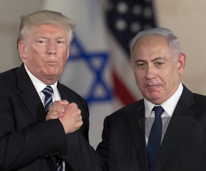 In this May 23, 2017, file photo, U.S. President Donald Trump and Israeli Prime Minister Benjamin Netanyahu shake hands at the Israel museum in Jerusalem.