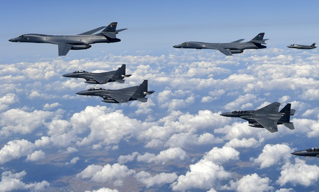 U.S. Air Force B-1B bombers, F-35B stealth fighter jets and South Korean F-15K fighter jets fly over the Korean Peninsula during a joint drills, South Korea on Sept. 18, 2017.