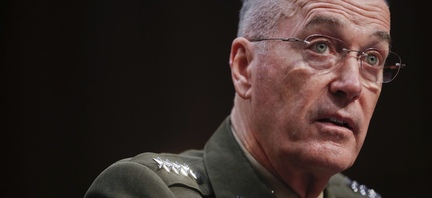 Joint Chiefs Chairman Marine Corps Gen. Joseph Dunford testifies before the Senate Committee on Armed Services on Capitol Hill in Washington, Tuesday, Sept. 26, 2017, to consider his reappointment.