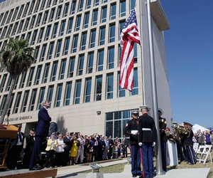 The American flag is raised at the newly opened U.S. Embassy in Havana in 2015.