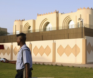 This June 18, 2013, file photo shows a general view of the Taliban office before the official opening in Doha, Qatar.