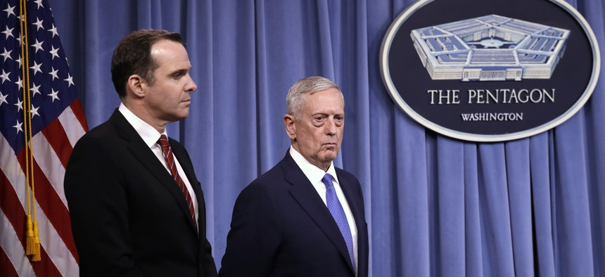 Defense Secretary Jim Mattis at a rare news conference at the Pentagon, Fri., May 19, 2017, with Brett McGurk, special presidential envoy for the global coalition to counter ISIS.