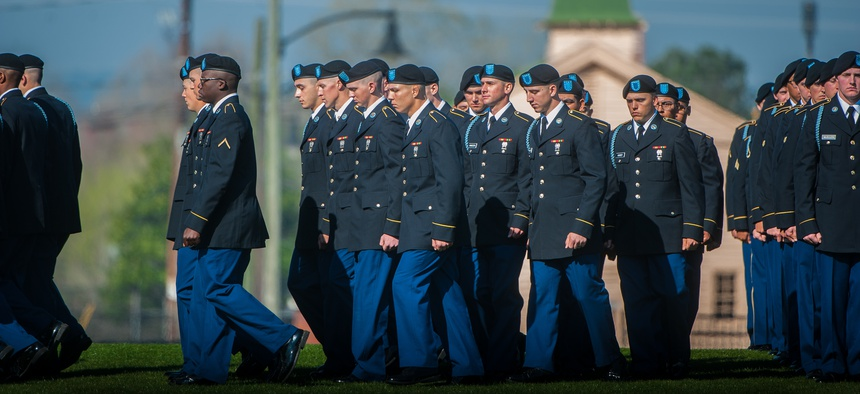 U.S. Army Soldiers march across Inouye Parade Field for their Initial Entry Training (IET) graduation ceremony at Fort Benning, Ga., March 17, 2017.