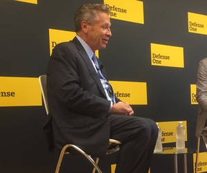 L3 Technologies Chairman and CEO Michael Strianese chats with Marcus Weisgerber at Defense One's Oct. 11 Global Business Briefing.