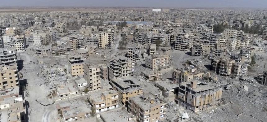 Drone video shows damaged buildings in Raqqa, Syria, Oct. 19, 2017.