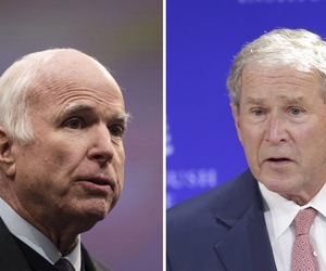 Left, Sen. John McCain, R-Ariz., speaks in Philadelphia on Oct. 16, 2017. Right, former U.S. President George W. Bush speaks in New York on Oct. 19, 2017.