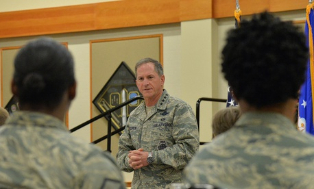 Gen. David Goldfein, the Air Force chief of staff, speaks with airmen at Malmstrom Air Force Base.