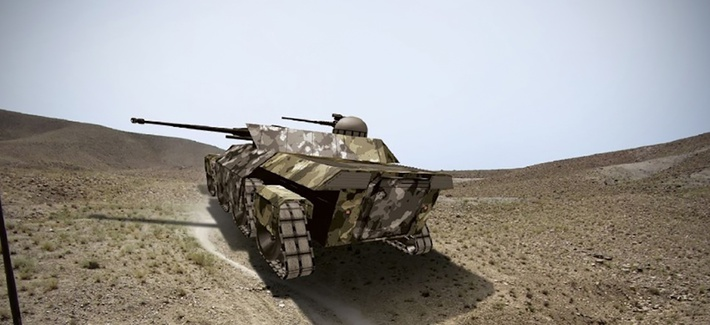 A rendering of a futuristic tank in a desert environment A rendering of a futuristic tank, the type of new technology tested in the game Operation Overmatch