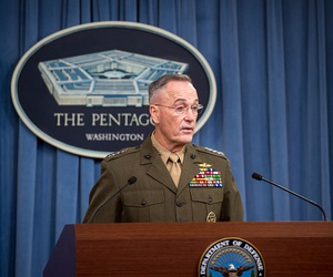 Chairman of the Joint Chiefs of Staff U.S. Marine Corps Gen. Joe Dunford speaks with media about recent military operations in Niger during a briefing Oct. 23.