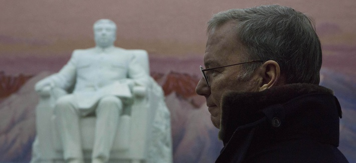 Executive Chairman of Google, Eric Schmidt stands near a statue of the late North Korean leader Kim Il Sung during a tour of the Grand Peoples Study House in Pyongyang, North Korea on Wednesday, Jan. 9, 2013