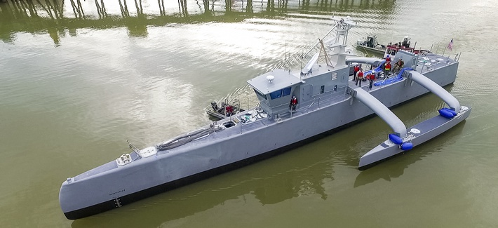 The ACTUV, or Sea Hunter, vessel, a project co-developed by DARPA and the US Navy