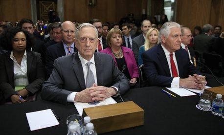 Secretary of Defense Jim Mattis and Secretary of State Rex Tillerson are seated during a Senate Foreign Relations Committee hearing on Capitol Hill in Washington, Oct. 30, 2017.