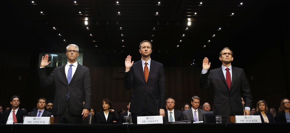 Representatives from Google, Twitter and Facebook are sworn in for a Senate Intelligence Committee hearing on Russian election activity and technology, on Capitol Hill in Washington, Nov. 1, 2017.