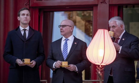 White House Senior Adviser Jared Kushner, National Security Adviser H.R. McMaster, and Secretary of State Rex Tillerson wait for their boss to arrive for a Chinese opera performance at the Forbidden City, Nov. 8, 2017, in Beijing, China.