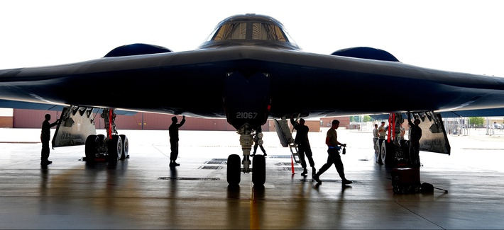 Crew chiefs from the 509th Aircraft Maintenance Squadron and 131st Bomb Wing perform a phase inspection on a U.S. Air Force B-2 Spirit bomber aircraft at Whiteman Air Force Base, Mo.