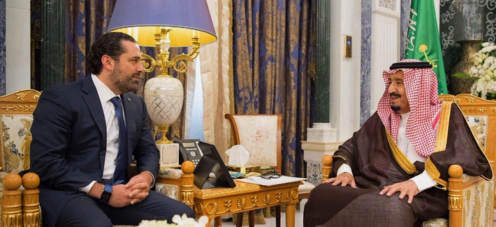 In this photo provided by the Saudi Press Agency, Saudi King Salman, right, meets with outgoing Lebanese Prime Minister Saad Hariri in Riyadh, Saudi Arabia, Monday, Nov. 6, 2017.