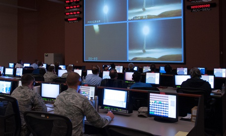 Members of the 576th Flight Test Squadron monitor an operational test launch of an unarmed Minuteman III missile March 27, 2015, at Vandenberg Air Force Base, Calif.