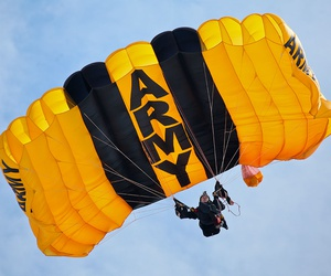 A U.S. Army soldier from the United States Army Parachute Team, the Golden Knights, parachutes into show center during the Thunder Over the Boardwalk Air Show in Atlantic City in August.