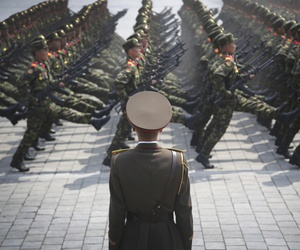 In this April 15, 2017, file photo, soldiers goose-step across Kim Il Sung Square in Pyongyang, North Korea, during a parade to celebrate the 105th birth anniversary of Kim Il Sung.