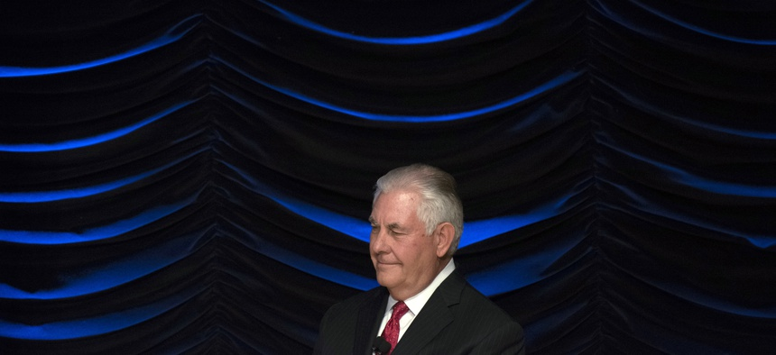 Secretary of State Rex Tillerson waits to deliver an address at the Wilson Center in Washington, Tuesday, Nov. 28, 2017.