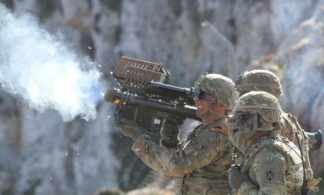 A soldier fires a Stinger missile using Man-Portable Air Defense Systems (MANPADs) during Artemis Strike, a live fire exercise at the NATO Missile Firing Installation (NAMFI) off the coast of Crete, Greece Nov. 6, 2017.