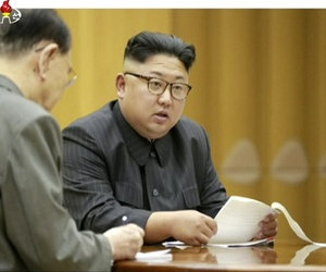 This image made from undated video of a news bulletin aired by North Korea's KRT on Sept. 3, 2017, North Korea's leader Kim Jong Un holds the Presidium of the Political Bureau of the Central Committee. North Korean state television said on Sunday, Sept. 3