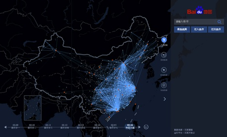 "In this image made on Monday, Feb. 16, 2015 from an interactive graphic from Baidu, the Chinese Internet portal, lines tracing the trips of individual travelers provide a ""heat map"" of the massive migration home from the big cities."