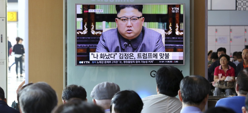 - In this Friday, Sept. 22, 2017, file photo, people watch a TV screen showing an image of North Korean leader Kim Jong Un delivering a statement in response to U.S. President Donald Trump's speech to the United Nations, in Pyongyang, North Korea.