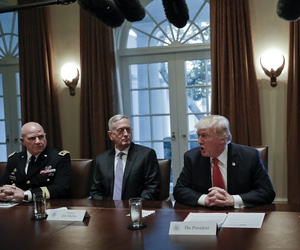 President Donald Trump speaks during a briefing with senior military leaders in the Cabinet Room of the White House in Washington, Thursday, Oct. 5, 2017.