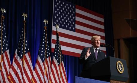President Donald Trump speaks on national security, Monday, Dec. 18, 2017, in Washington.