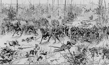 "Confederate soldiers attacking in the ""Hornet's Nest"" in the Battle of Shiloh in Tennessee during the Civil War, on April 6, 1862."