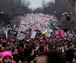 Protesters march through Washington during the Women's March the day after President Trump's inauguration.