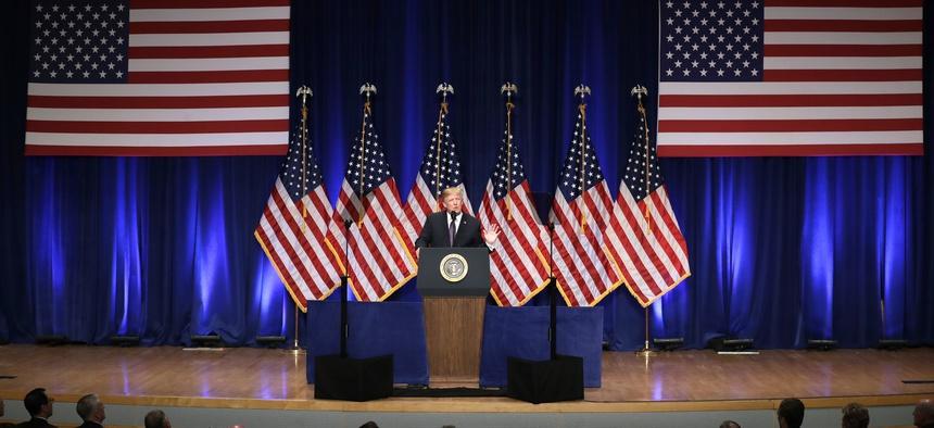President Donald Trump speaks on national security Monday, Dec. 18, 2017, in Washington.