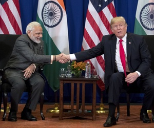 President Donald Trump, right, and Indian Prime Minister Narendra Modi shake hands during a bilateral meeting at the ASEAN Summit at the Sofitel Philippine Plaza, Monday, Nov. 13, 2017, in Manila, Philippines