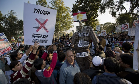 Pakistani traders rally in Islamabad earlier this month, condemning U.S. President Donald Trump for declaring Jerusalem as Israel's capital.