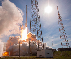 The initial launch of SpaceX's first re-flown rocket is shown here.