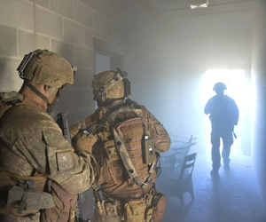 The U.S and 16 other partner nations exercise scenarios at the Colmar Urban Training Center at Fort Stewart, in Georgia, in October 2017.