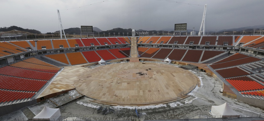 The Pyeongchang Olympic Stadium is under construction in Pyeongchang, South Korea, Saturday, Nov. 25, 2017.