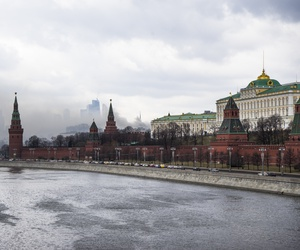 The Russian Defense Ministry, shown here with the Kremlin and the Moskva River in front, in Moscow, Russia, April 3, 2016.