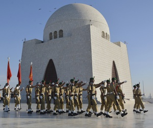 A contingent of the cadets of Pakistan army march during a change of the guard ceremony at the Jinnah mausoleum in Karachi, Pakistan.