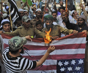 In 2012, supporters of Pakistani religious party Jamiat Ulema-e-Islam, protested US drone strikes in tribal areas and the reopening of the NATO supply line to neighboring Afghanistan —a route that observers worry Pakistan could close again.