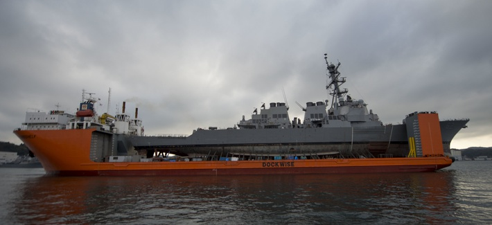 The Arleigh Burke-class guided-missile destroyer USS Fitzgerald aboard the heavy lift transport vessel MV Transshelf before being transported to Huntington Ingalls Industries for repairs.