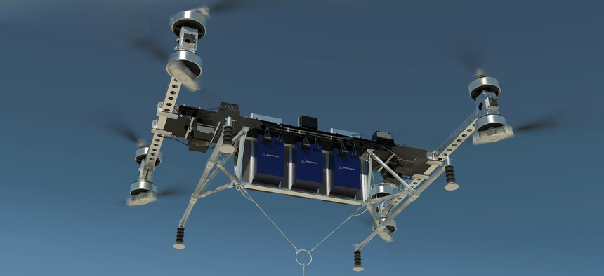 The Boeing CAV delivery drone prototype can lift 500 pounds.